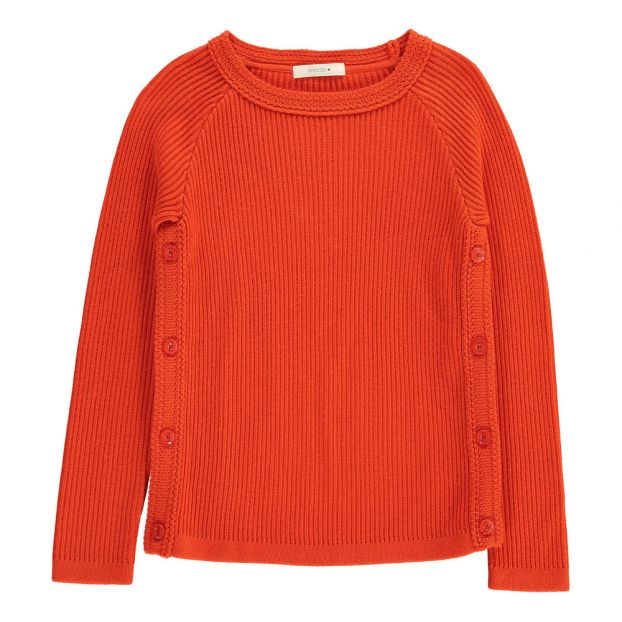 Gerippter Pullover mit Schulterknöpfen Seals Mandarinenfarben