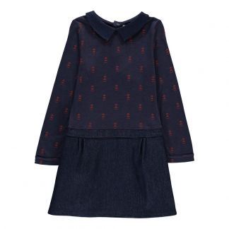 Blune Kids Robe Bi-matières Triangles Hands Up Bleu marine-listing 67bdca724030