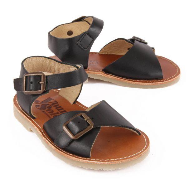 Sandales Sonny Adolescent Soles Noir Cuir Chaussure Young fxfFTqOAwr