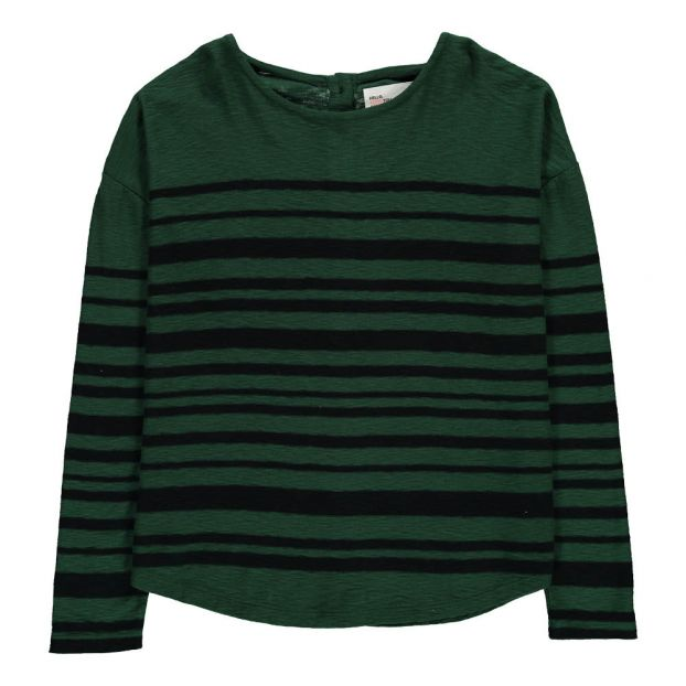 0ae42c2a1453ed Striped Tron T-Shirt with Button-Up Back Green Leon   Harper