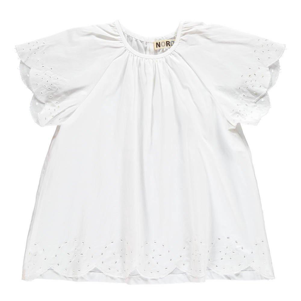 Blouse Broderie Anglaise Pétale Blanc Noro Mode Enfant. « 6bce470f256