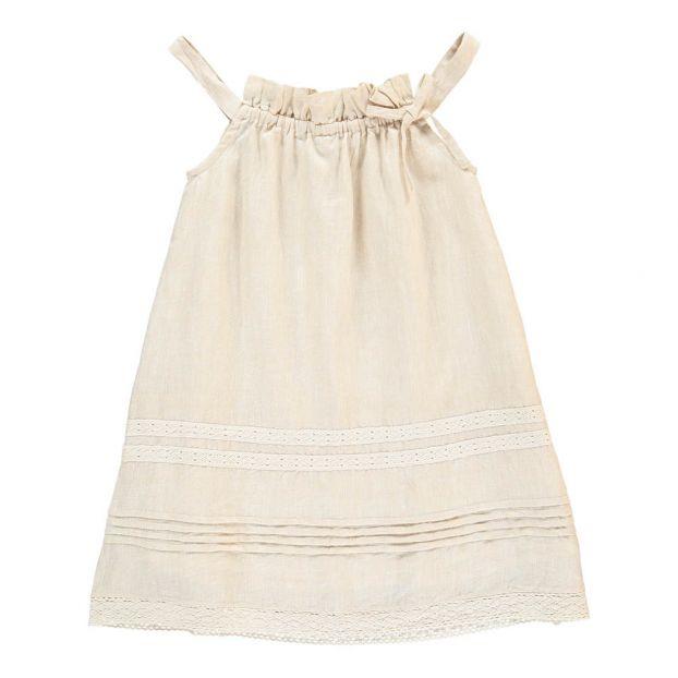 6337f75702de Vestito Prendisole Ricami Ecru Bonnet à pompon Moda Bambino