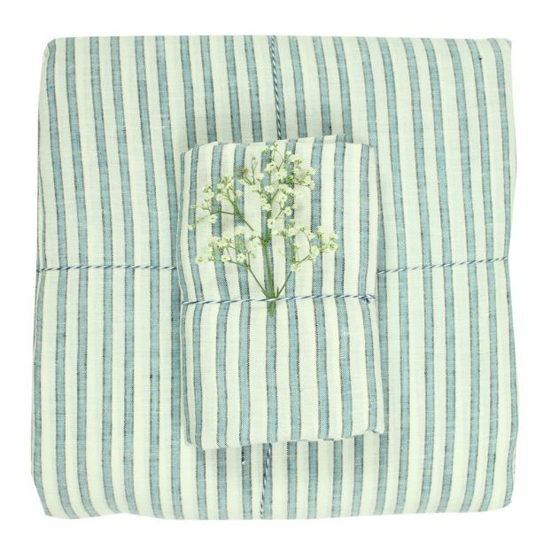 Three Colour Striped Linen Duvet Cover  by Smallable