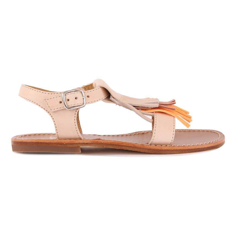 Sandales Rosé Beige Gallucci Frange Cuir Chaussure Boucle Bébé PkOXN8n0w