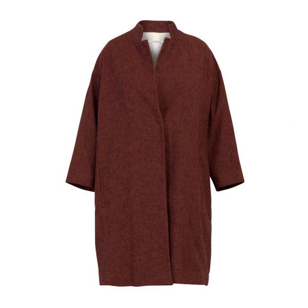 27c3a0aa92de Oversize Cotton and Linen Coat Bordeaux Pomandère Fashion Adult