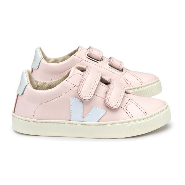 barril Pensamiento vertical  Esplar Velcro Leather Trainers Powder pink Veja Shoes Baby ,