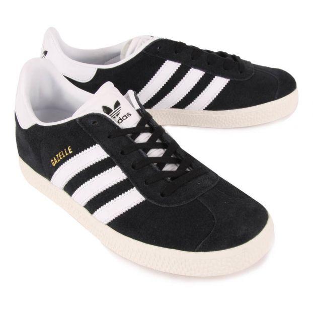 mieux aimé haut fonctionnaire check-out Baskets Lacets Suède Gazelle Noir Adidas Chaussure Adolescent ,