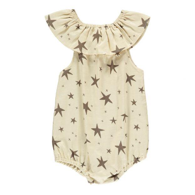 f1fe4abd470 Ruffle Neck Star Romper Ivory Ivory Rylee + Cru Fashion Baby