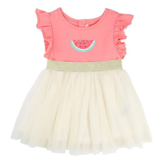 b7ce0c983c Vestido Bi-tejido Algodón   Tul Sandía Rosa Billieblush Moda