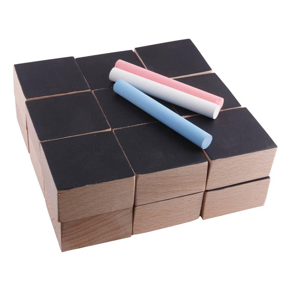 Paulette et Sacha - Cubes en bois et ardoise et 3 craies - Set de 18 - Noir