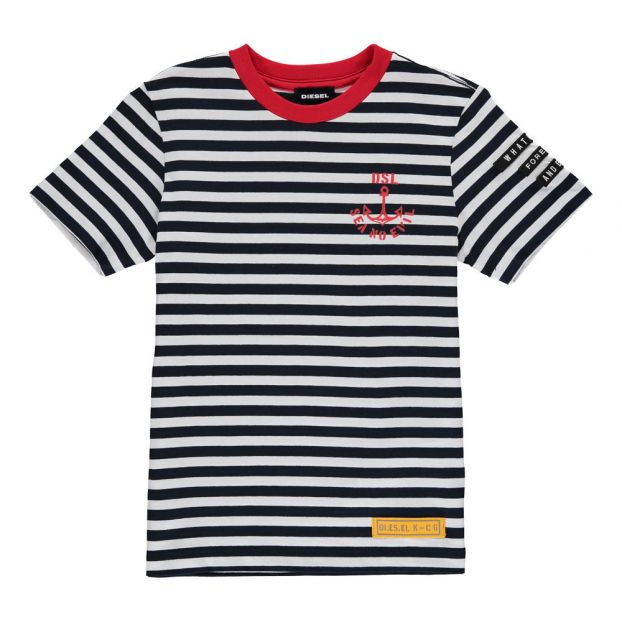 5a9b75b827d8e2 Taifa Striped T-Shirt with Red Collar Navy blue - Off-white