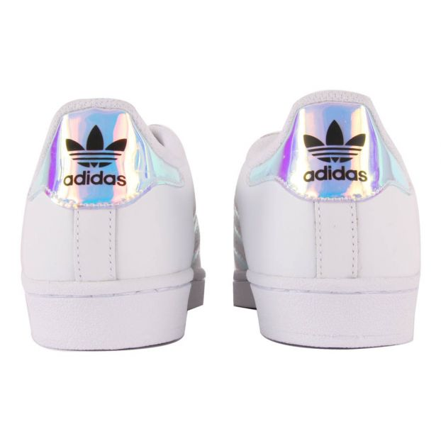 c0f24c755049 Iridescent Superstar Lace-Up Trainers White Adidas Shoes Teen