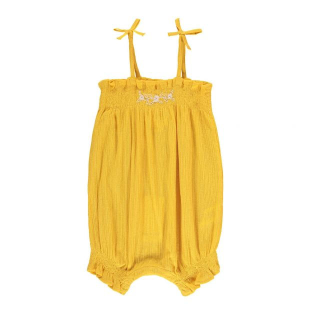 230ffc1785f Embroidered Cherry Cotton Crepe Romper Yellow Louis Louise