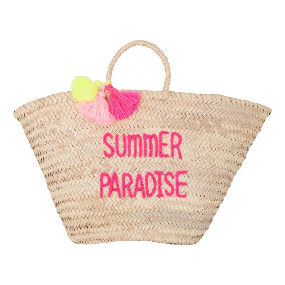 Borsa cesto Pompons ricamato Summer paradise