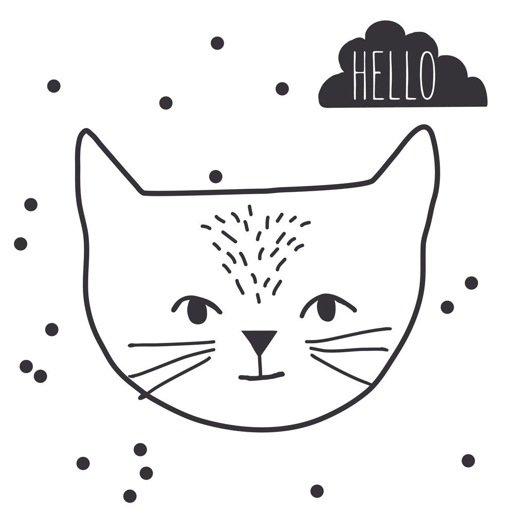 Sticker Just a touch hello cat