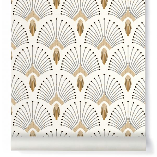 Papier Peint 1925 Traditional Beige Papermint Design Adulte