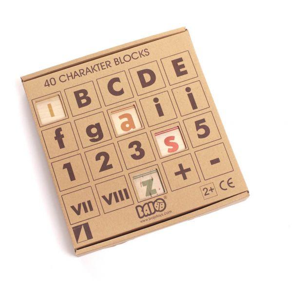 4073f0e9430ed Juego de cubos letras y números de madera - 40 piezas-product