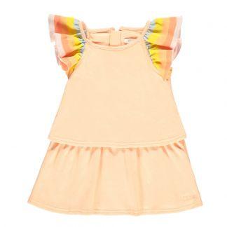 43d4841228abab Chloé Striped Ruffle Jersey Dress-listing