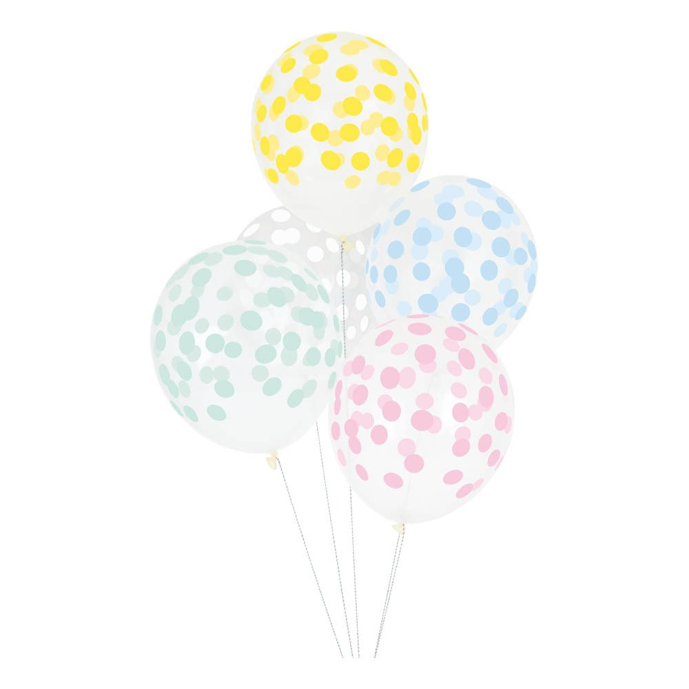 Ballons imprimés confettis - Lot de 5
