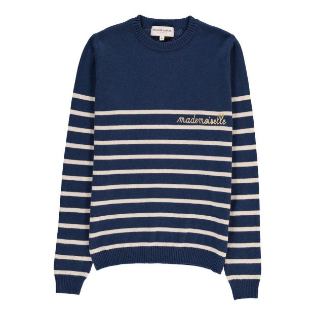 a75d7e2e7213 Mademoiselle Embroiderd Marinière Jumper Navy blue