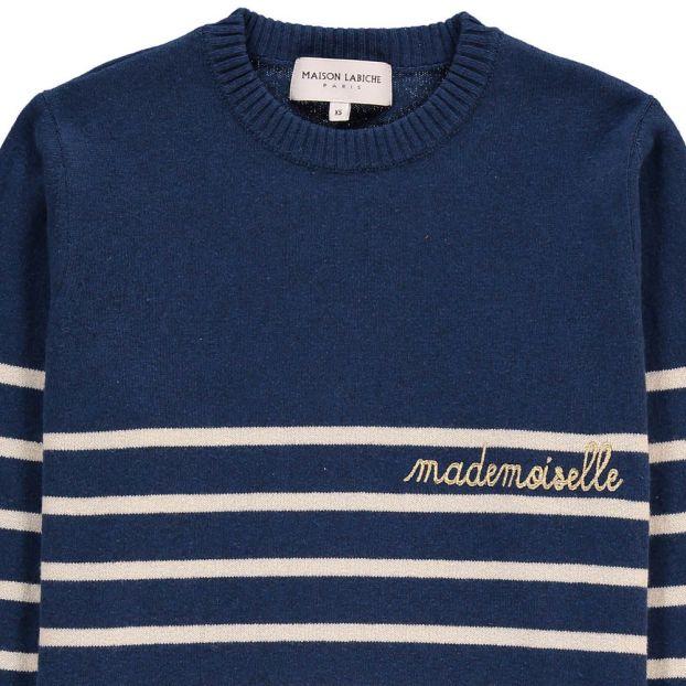 42354678a4ac Mademoiselle Embroiderd Marinière Jumper Navy blue Maison
