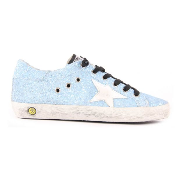 0ae8ad858bae Superstar Glitter Lace-Up Trainers Light blue Golden Goose Deluxe