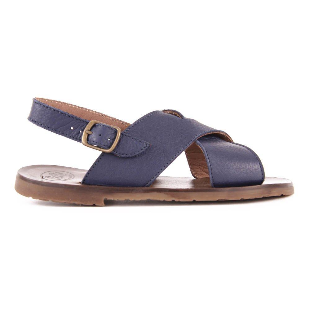 dc6c4b0ad42ee Sandales Cuir Croisées Bleu marine Pèpè Chaussure Enfant. «