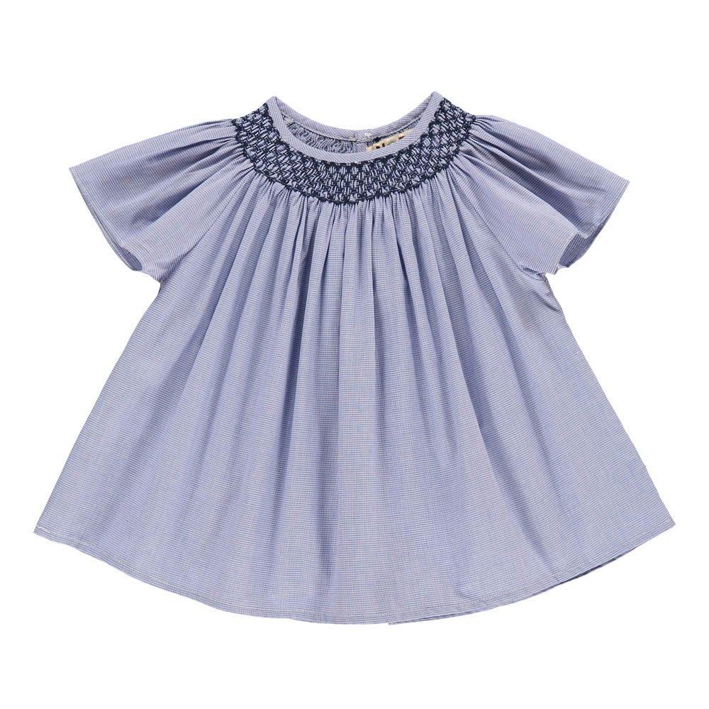 5e1264ecd35 Cherry Tree Mini Check Smock Dress Blue Noro Fashion Baby. «