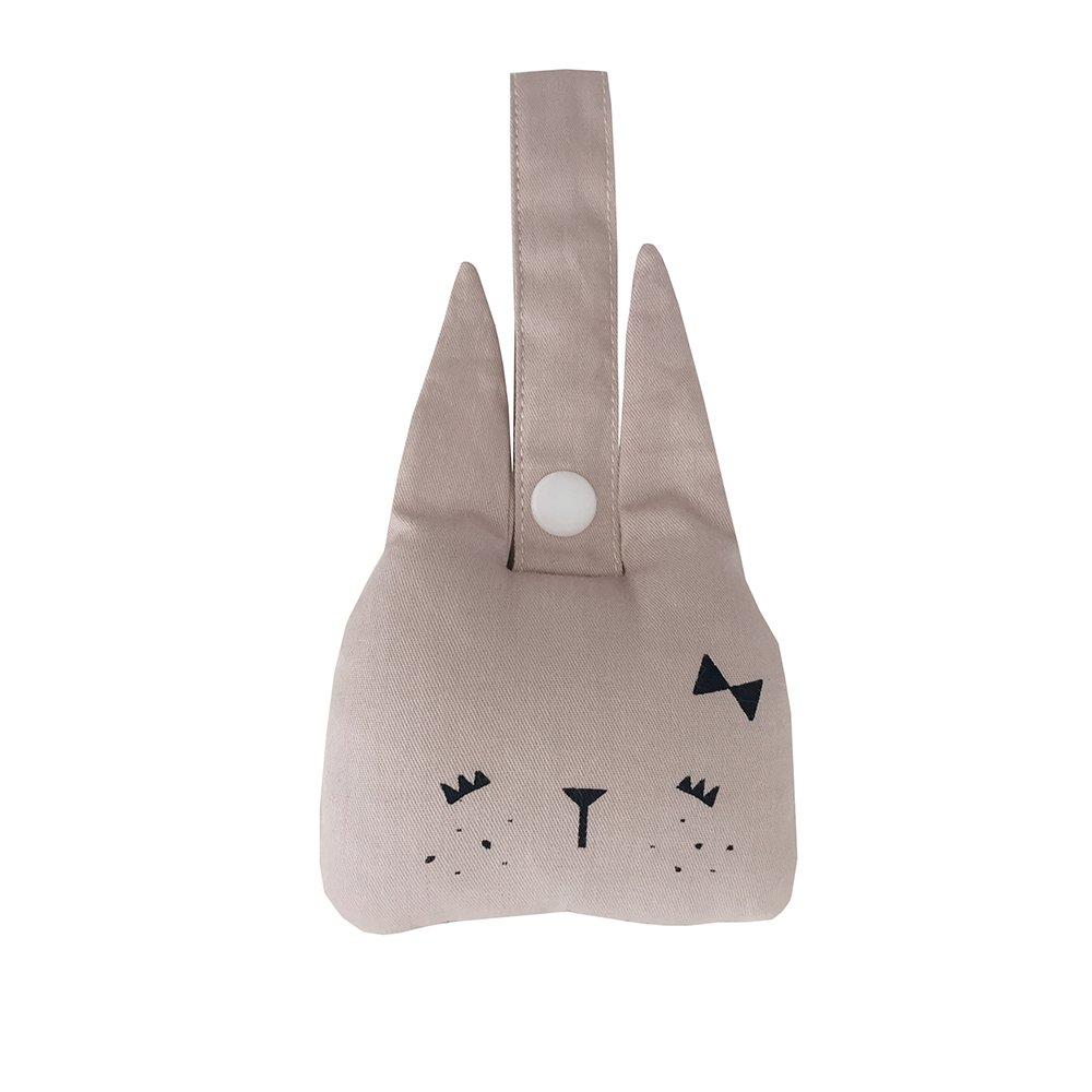 Hochet à suspendre lapin en coton bio - 10x10 cm