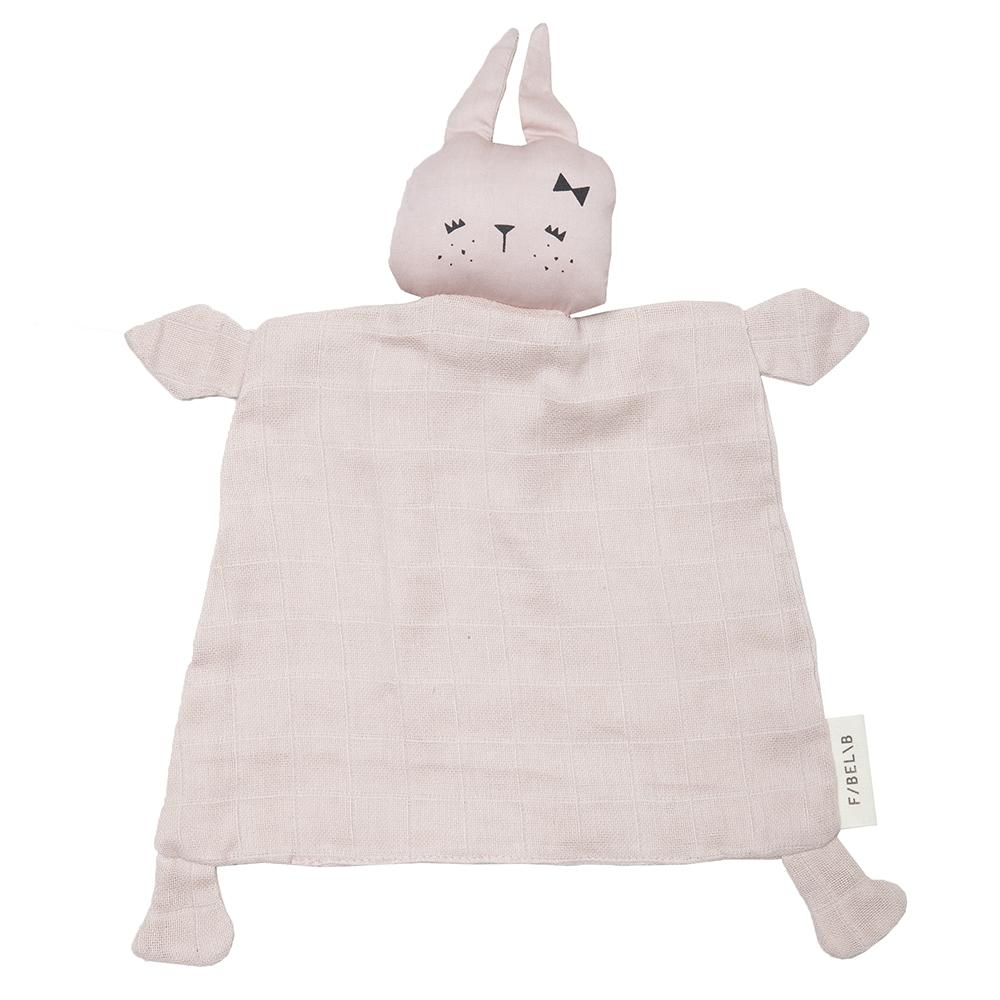 Doudou poupée lapin en coton bio - 34x26 cm