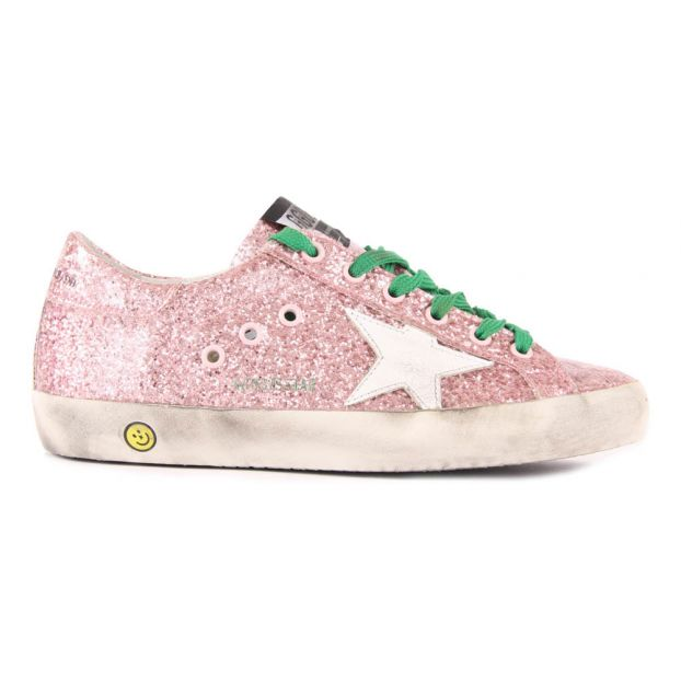 New York 07d30 87bec Baskets Basses Lacets Glitter Superstar Rose