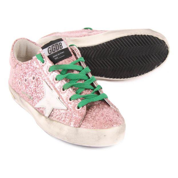 Baskets Basses Lacets Glitter Superstar Rose