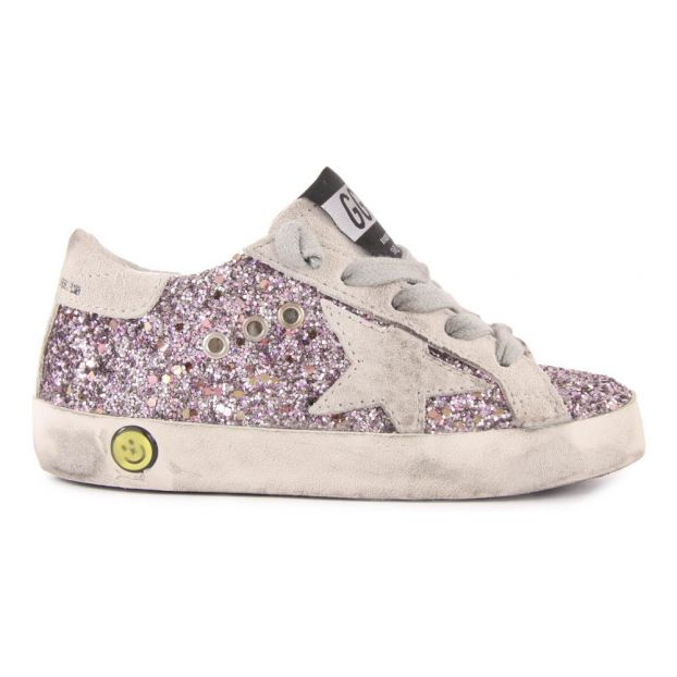 Baskets Basses Lacets Paillettes Superstar Rose Golden Goose