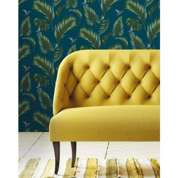 Papier Peint Jungle Traditional Bleu Petrole Papermint Design