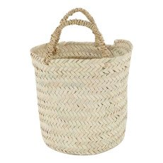 product-Cosydar Flat Round Woven Palm Leaf Basket