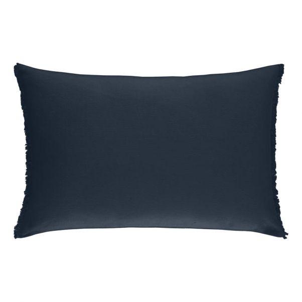 Washed Linen Rectangle Cushion Ink Communaute De Biens Design