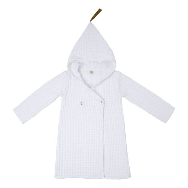Childrens Organic Cotton Dressing Gown White S001 Numero 74