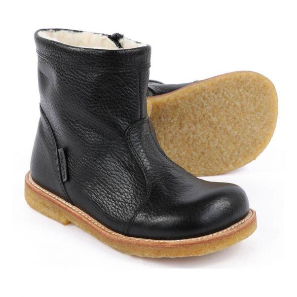 b04202e3e8c91 Cuir Zippées Angulus Noir Fourrées Bébé Chaussure Boots Tex ZAdqwwE