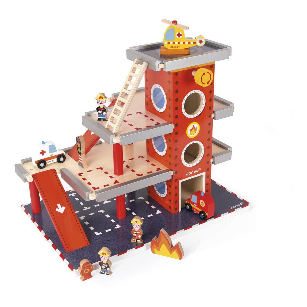 Janod - Caserne des pompiers en bois avec ses accessoires - Rouge