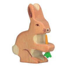 product-Holztiger Wooden Rabbit Figurine With Carrot