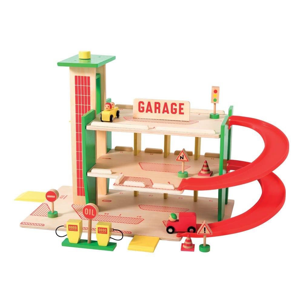Moulin Roty - Garage à voitures en bois et ses 11 accessoires - Naturel