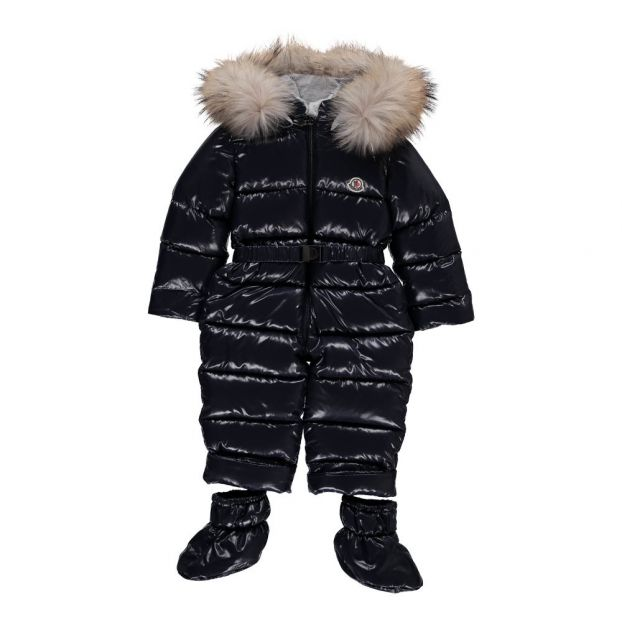 7039a245f Crystal Fur Lined Hooded Snowsuit Navy blue Moncler Fashion Baby