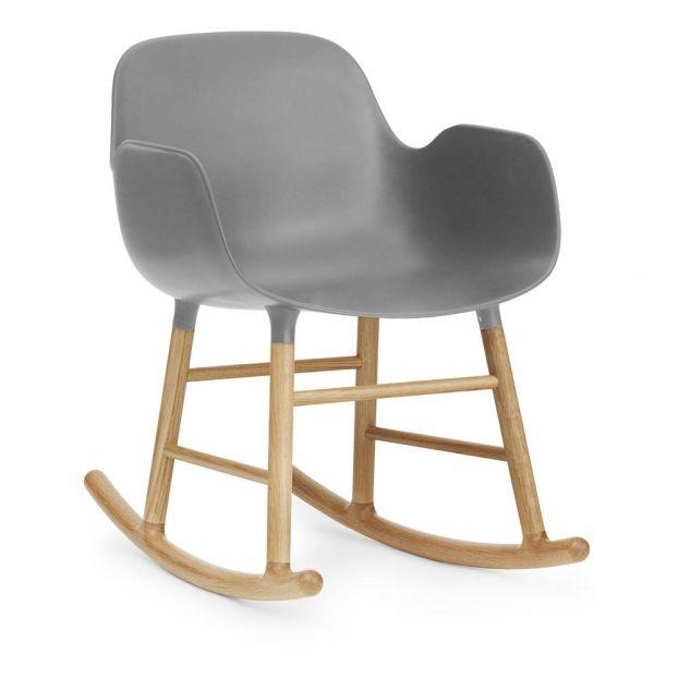 Terrific Form Oak Rocking Armchair Grey Customarchery Wood Chair Design Ideas Customarcherynet