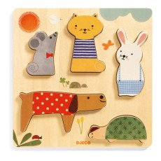 product-Djeco Puzzle animaux Woodypets - 5 pièces