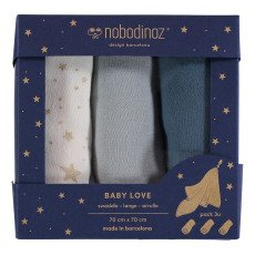 product-Nobodinoz Baby Love Cotton Swaddles - Set of 3
