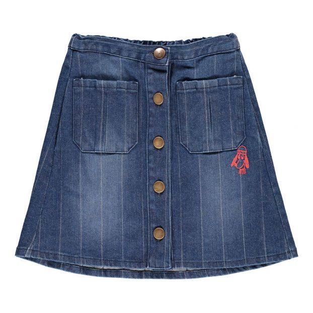721be6d6ac3f Button Denim Skirt Denim blue Bobo Choses Fashion Children