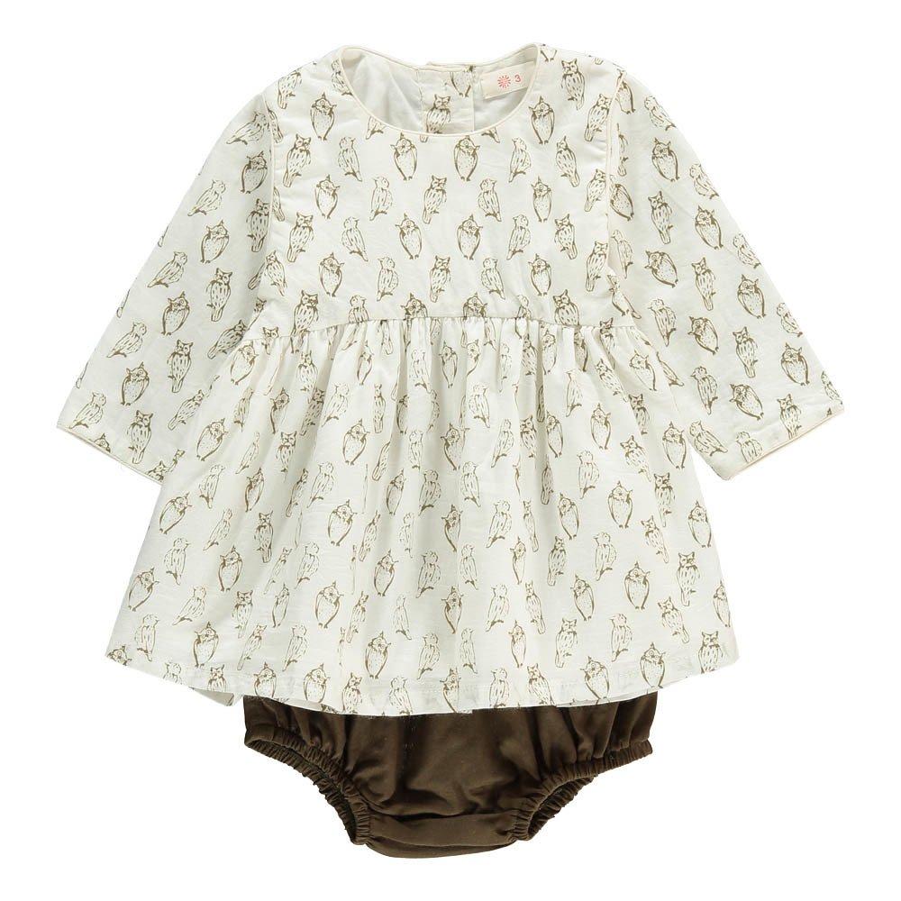 Athena Owl Dress + Bloomers White Ketiketa Fashion Baby. «