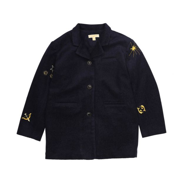 0b7473d3faf Galactique Embroidered Coat Navy blue Soft Gallery Fashion