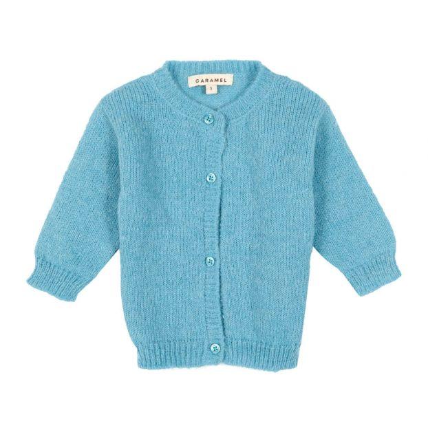 46afd56a9 Woodcroft Alpaca Wool Cardigan Light blue Caramel Fashion Baby