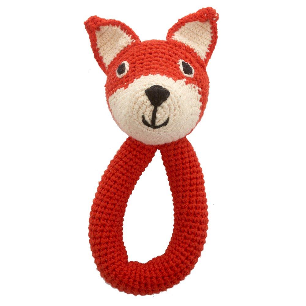 Sonajero zorro con cascabel en crochet hecho a mano Mandarina